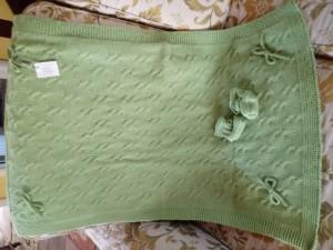 copertina lana verde neonato